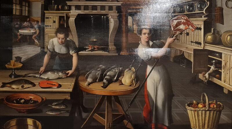 Scuola fiamminga del secolo XVI, Due donne in cucina con cenna in Emmaus