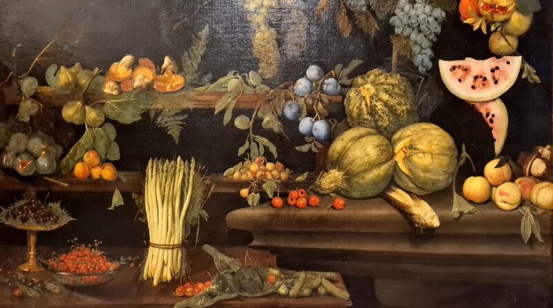 Scuola romana del secolo XVII, Natura morta con frutta e ortaggi