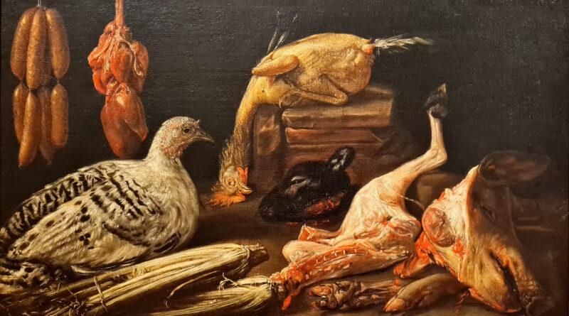 Cucina con uccelli vivi e morti, carni macellate, salsicce e cardi, Felice Boselli
