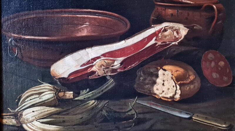 Natura morta con prosciutto, cardi, pane e salame, Cristoforo Munari
